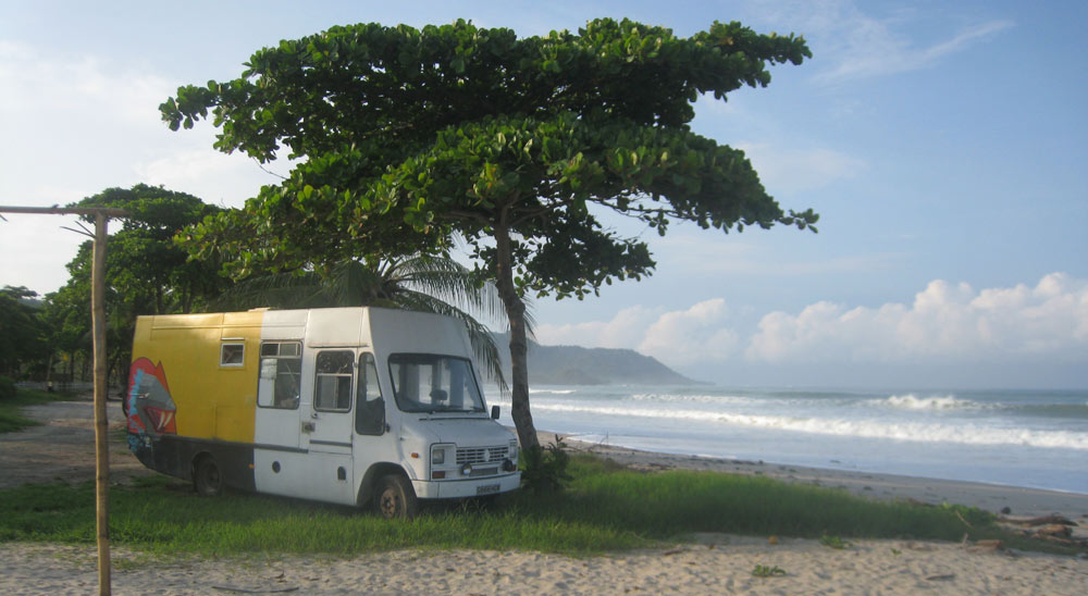 Beach side parking in Costa Rica