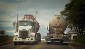 Trucks marked Peligro
