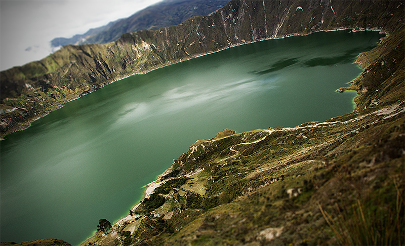 High-altitude lake in a volcano